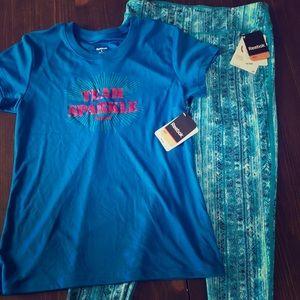 Reebok Matching Tee Shirt and Leggings Set